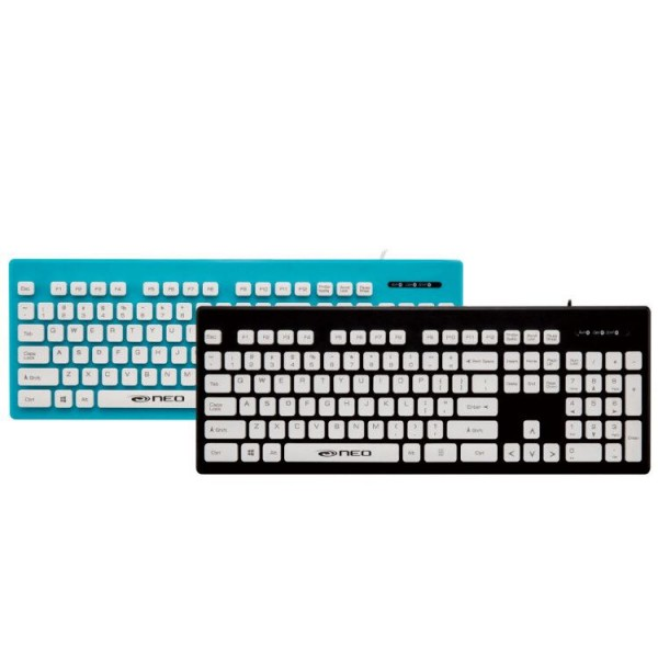 NEO K201BLK/K201BLU Wired USB Keyboard Black, Spill Resistant 618MC