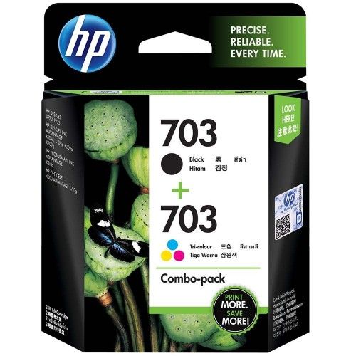 HP 703 Photo Value Pack, Black / Tri-color Ink Advantage Cartridge, COMBO PACK J3N04AA 618EL
