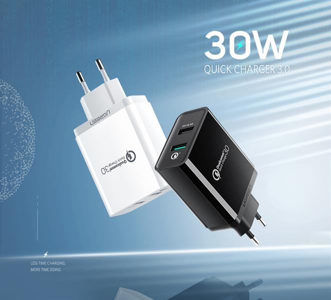 Ugreen Dual USB Charger 2.4A+QC3.0 CD132 GK