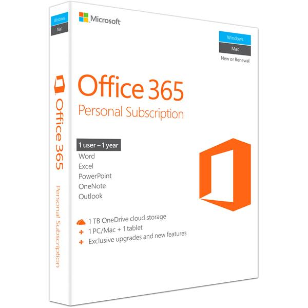Phần mềm Office 365 Personal English APAC EM Subscr 1YR Medialess P4 (QQ2-00807)