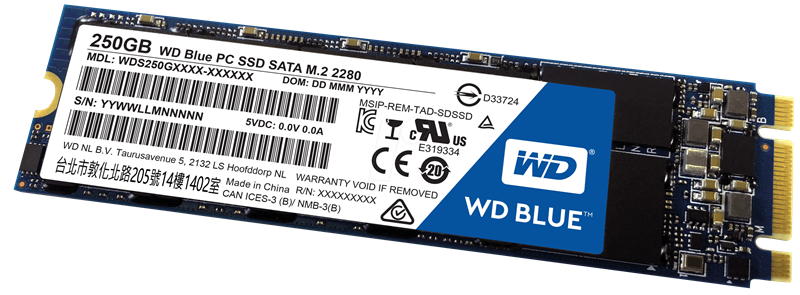 SSD WD 250GB Blue SATA III M.2 2280 Internal (WDS250G2B0B)